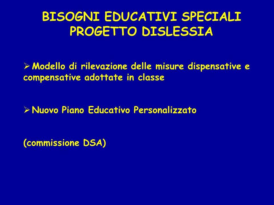 BISOGNI EDUCATIVI SPECIALI PROGETTO DISLESSIA