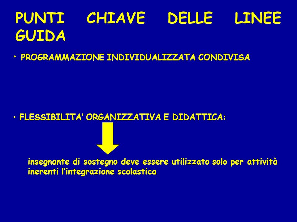 PUNTI CHIAVE DELLE LINEE GUIDA