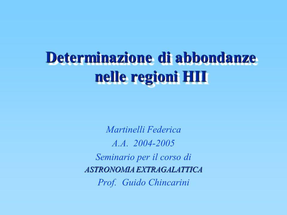 Determinazione di abbondanze nelle regioni HII