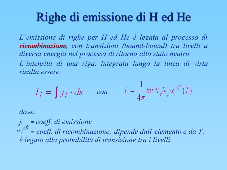 Righe di emissione di H ed He