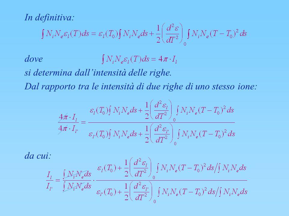 In definitiva: dove. si determina dall'intensità delle righe. Dal rapporto tra le intensità di due righe di uno stesso ione: