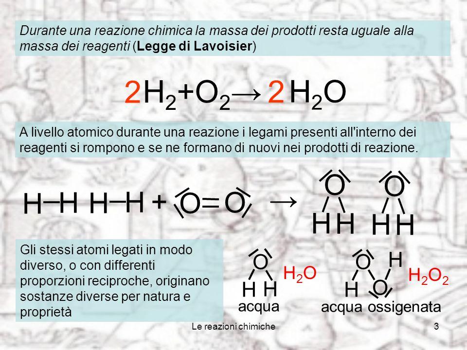 2 H2+O2→ 2 H2O O H O H + → O O H H H2O H2O2 acqua acqua ossigenata