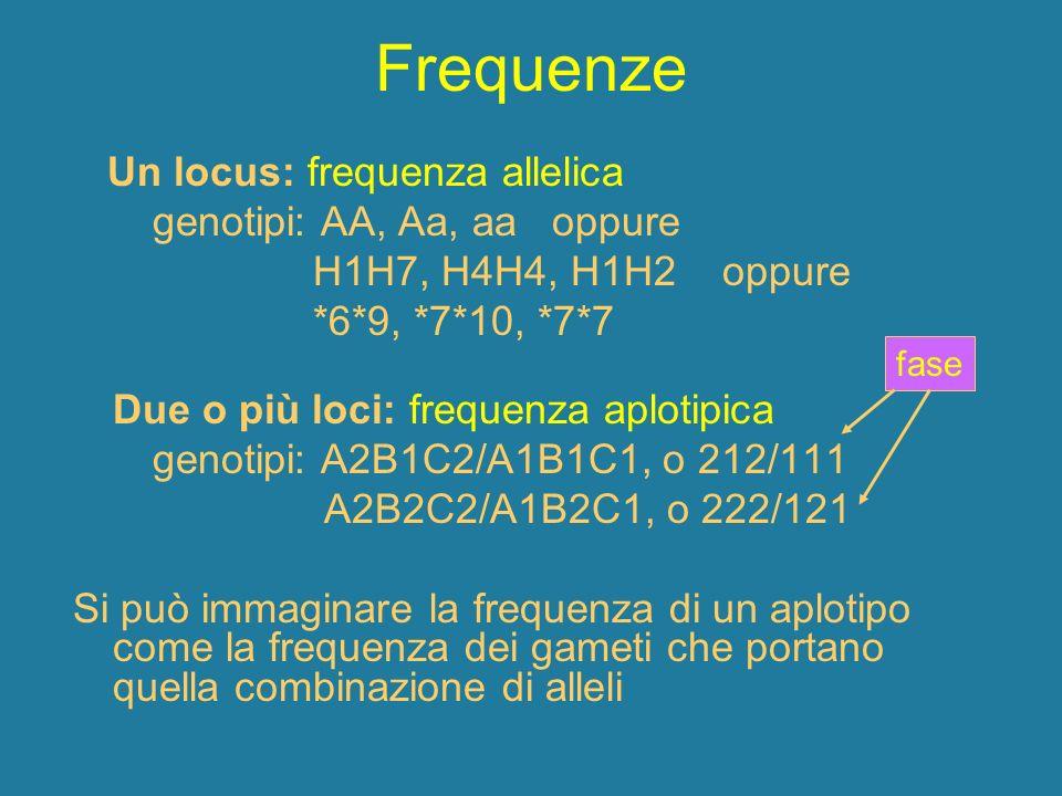 Frequenze Un locus: frequenza allelica genotipi: AA, Aa, aa oppure