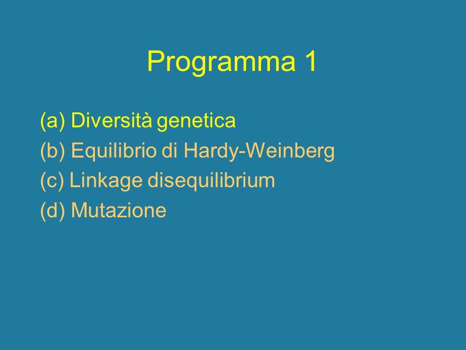 Programma 1 (a) Diversità genetica (b) Equilibrio di Hardy-Weinberg