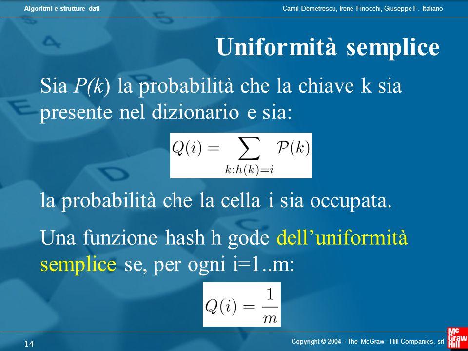 Uniformità semplice Sia P(k) la probabilità che la chiave k sia presente nel dizionario e sia: la probabilità che la cella i sia occupata.