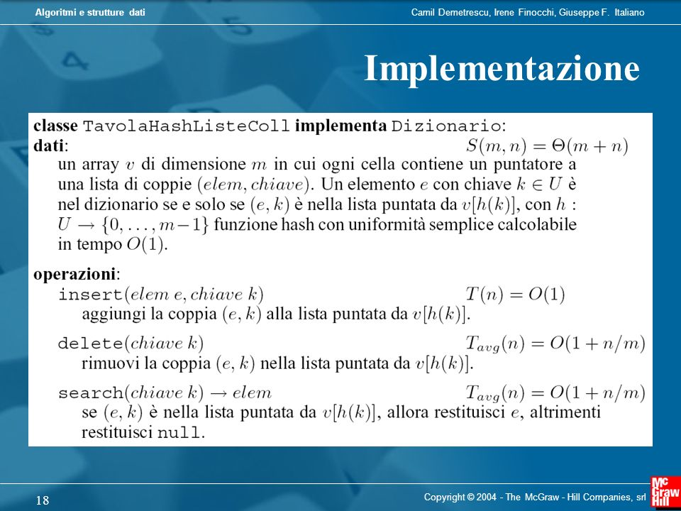 Implementazione Copyright © 2004 - The McGraw - Hill Companies, srl