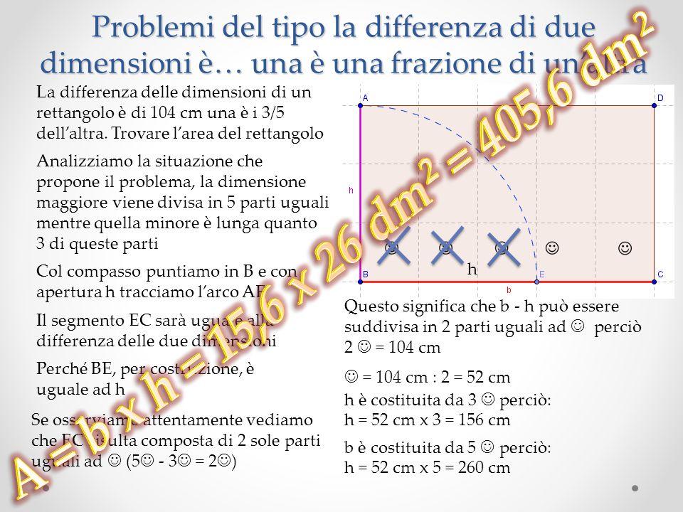 Problemi del tipo la differenza di due dimensioni è… una è una frazione di un'altra