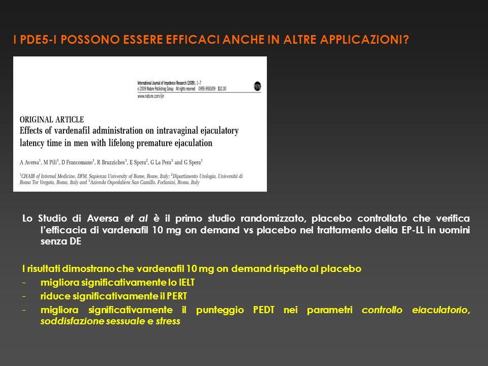 I PDE5-I POSSONO ESSERE EFFICACI ANCHE IN ALTRE APPLICAZIONI