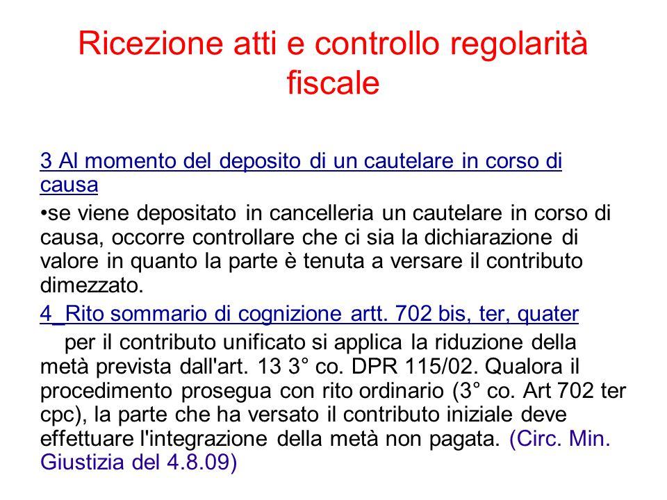 Ricezione atti e controllo regolarità fiscale