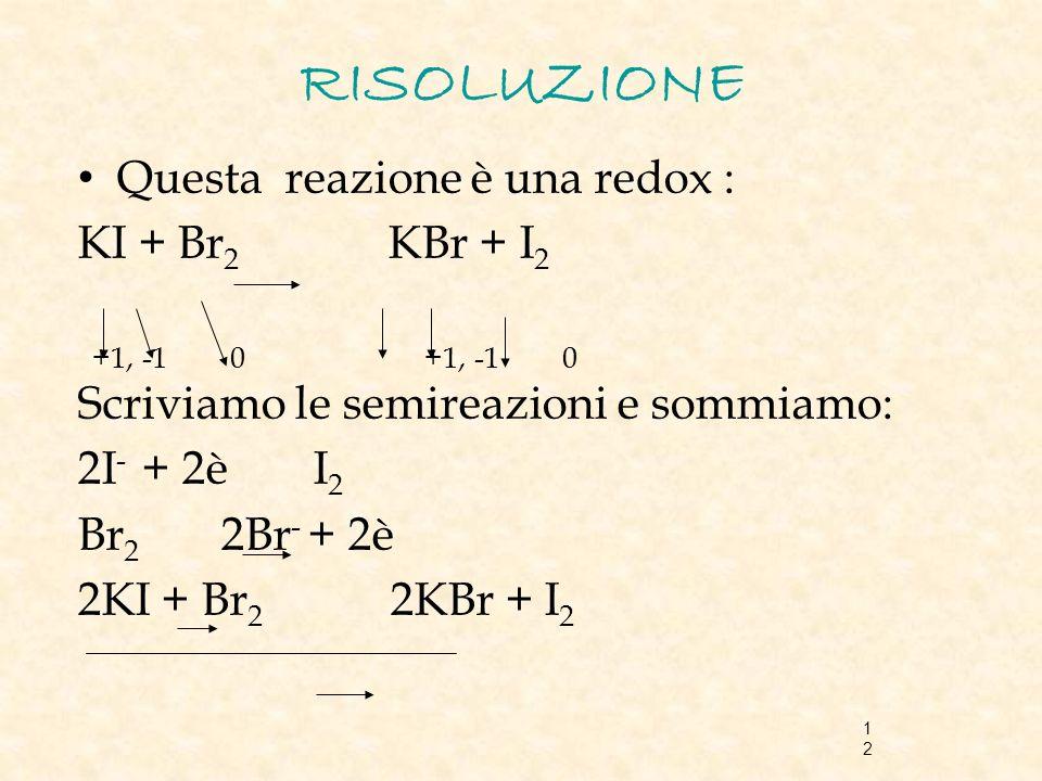 RISOLUZIONE Questa reazione è una redox : KI + Br2 KBr + I2