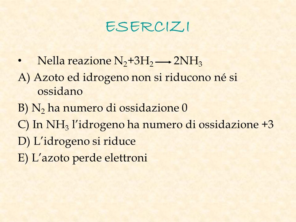 ESERCIZI Nella reazione N2+3H2 2NH3