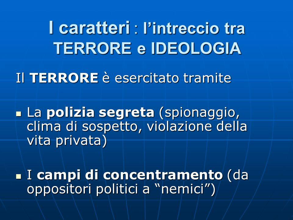 I caratteri : l'intreccio tra TERRORE e IDEOLOGIA