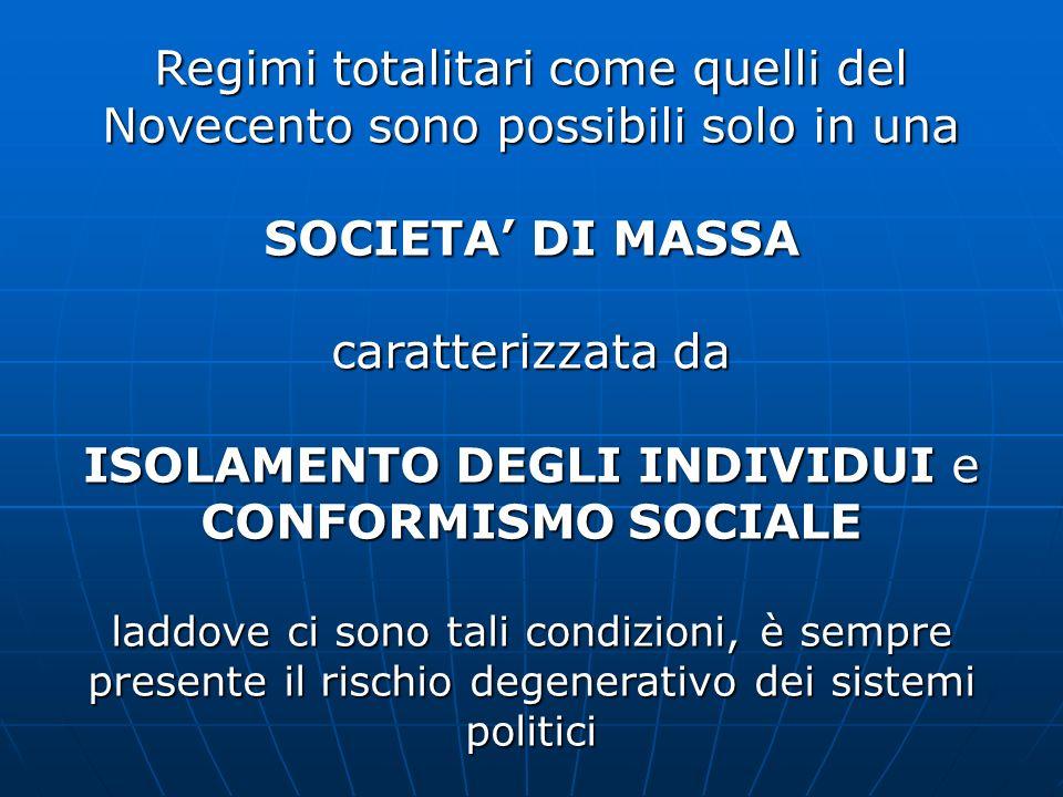 SOCIETA' DI MASSA CONFORMISMO SOCIALE