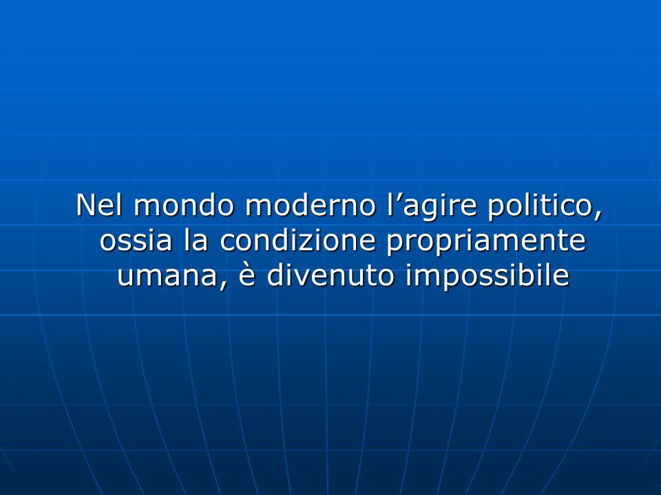 Nel mondo moderno l'agire politico, ossia la condizione propriamente umana, è divenuto impossibile