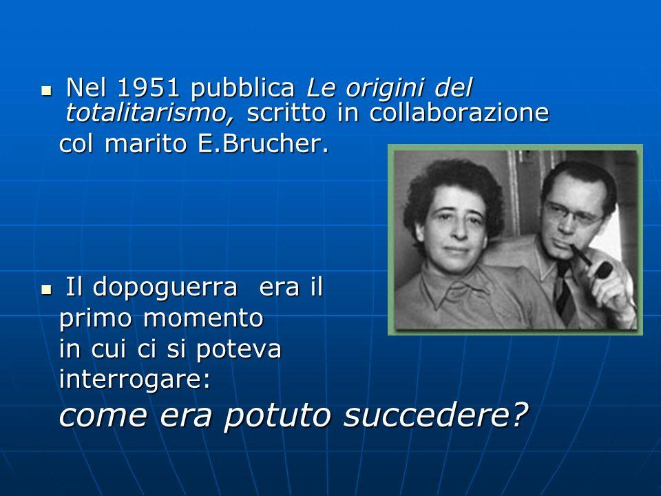 Nel 1951 pubblica Le origini del totalitarismo, scritto in collaborazione