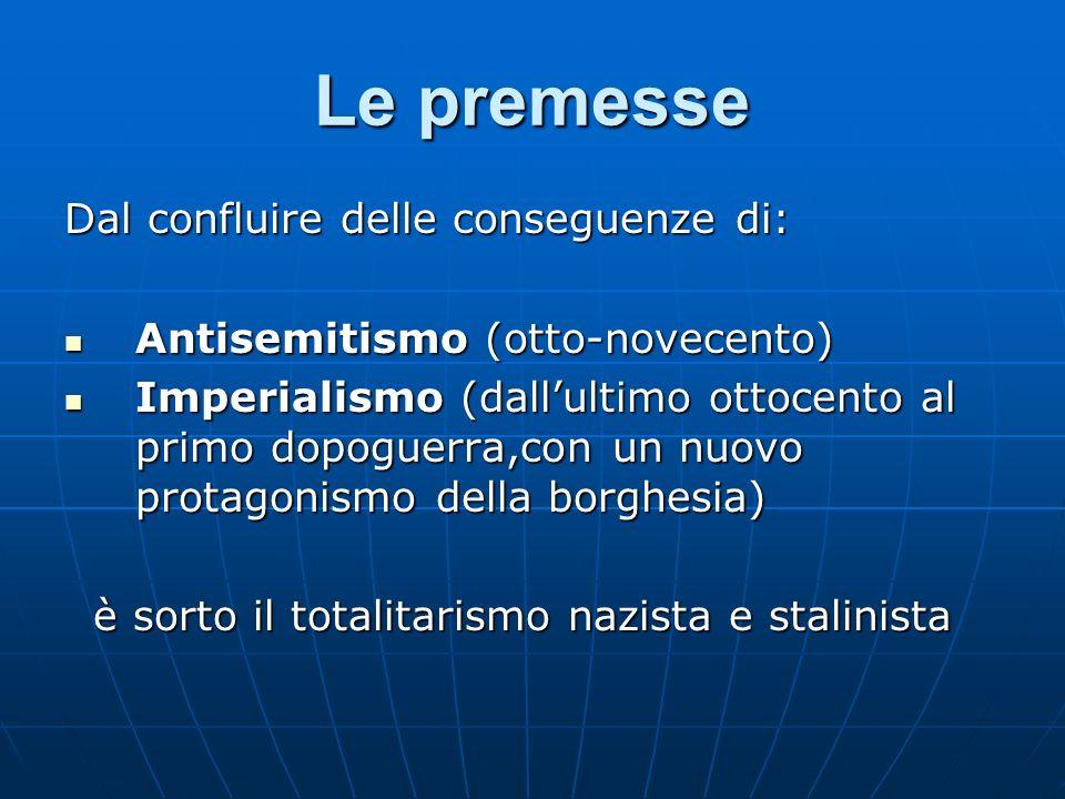 Le premesse Dal confluire delle conseguenze di: