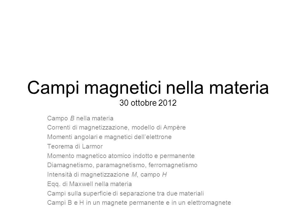 Campi magnetici nella materia 30 ottobre 2012
