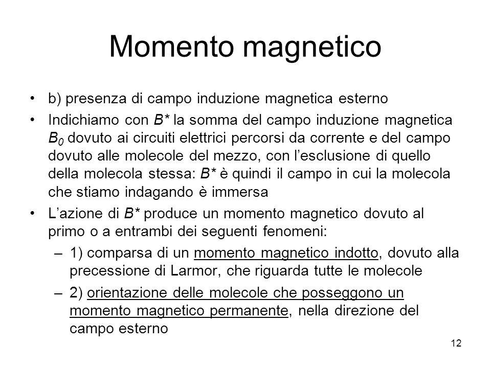 Momento magnetico b) presenza di campo induzione magnetica esterno