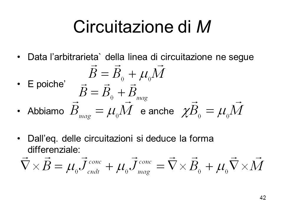 Circuitazione di M Data l'arbitrarieta` della linea di circuitazione ne segue. E poiche' Abbiamo e anche.