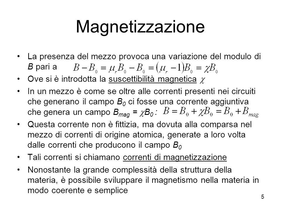 Magnetizzazione La presenza del mezzo provoca una variazione del modulo di B pari a. Ove si è introdotta la suscettibilità magnetica c.