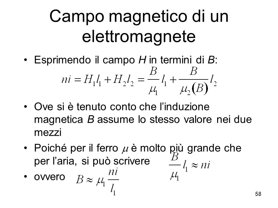 Campo magnetico di un elettromagnete