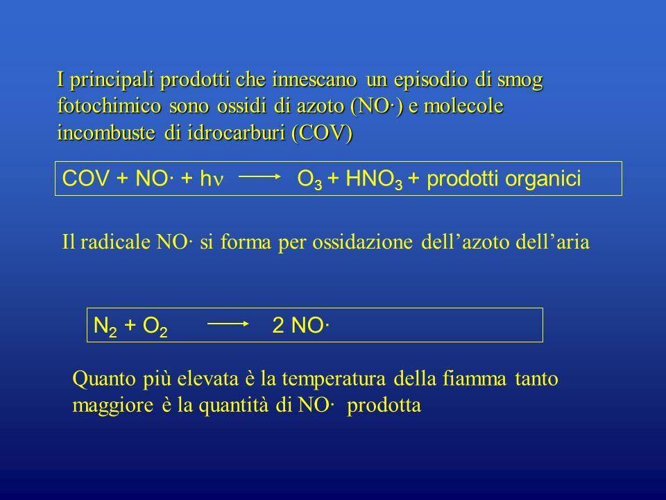 I principali prodotti che innescano un episodio di smog fotochimico sono ossidi di azoto (NO∙) e molecole incombuste di idrocarburi (COV)