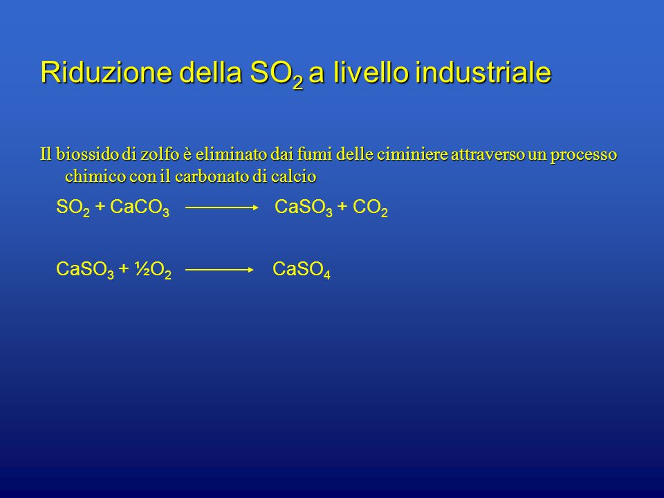 Riduzione della SO2 a livello industriale