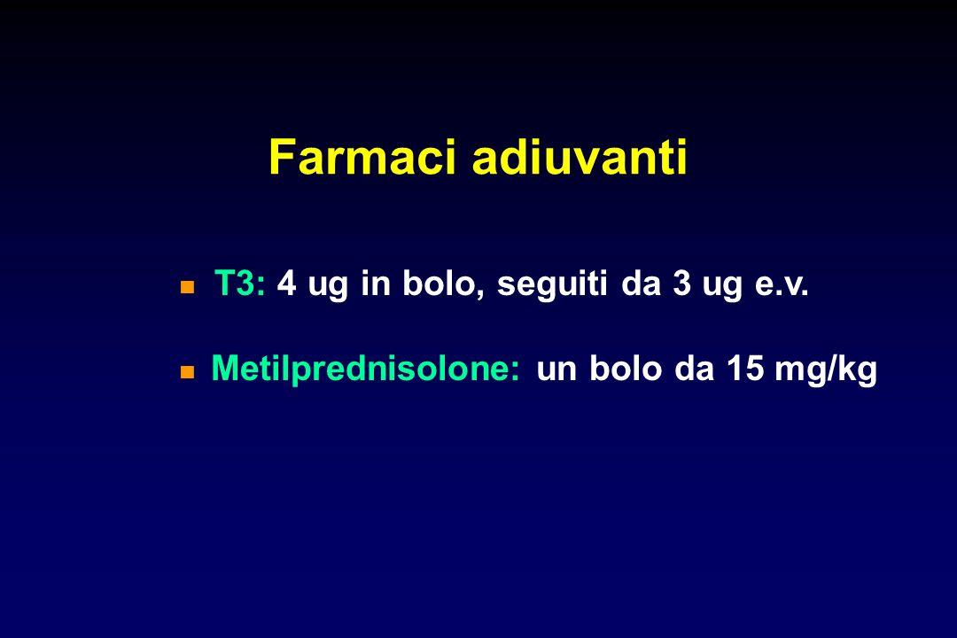 Farmaci adiuvanti  T3: 4 ug in bolo, seguiti da 3 ug e.v.