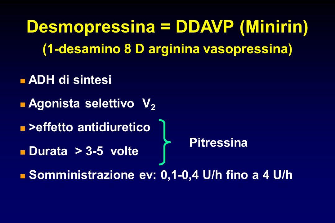 Desmopressina = DDAVP (Minirin) (1-desamino 8 D arginina vasopressina)