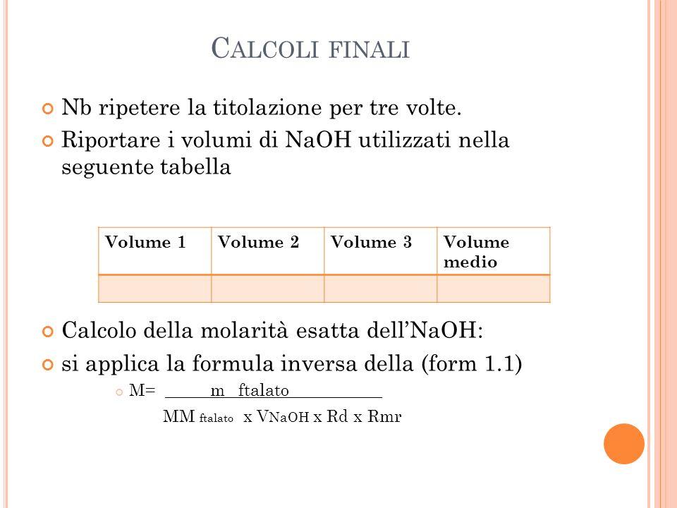 Calcoli finali Nb ripetere la titolazione per tre volte.