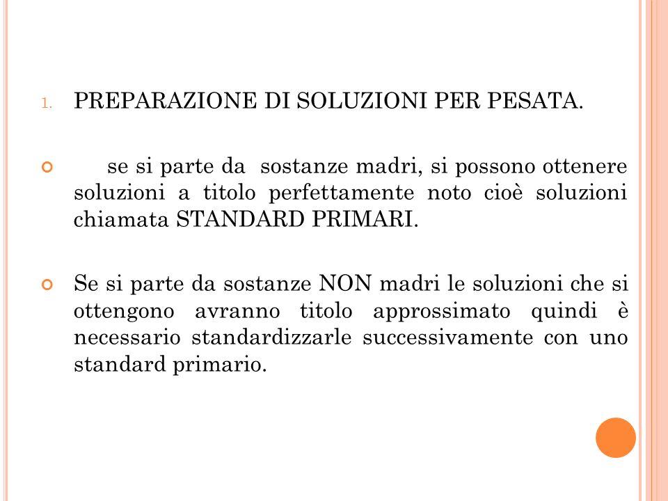 PREPARAZIONE DI SOLUZIONI PER PESATA.