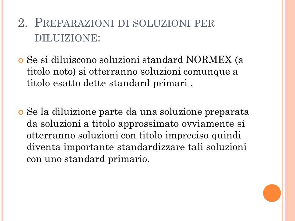 2. Preparazioni di soluzioni per diluizione: