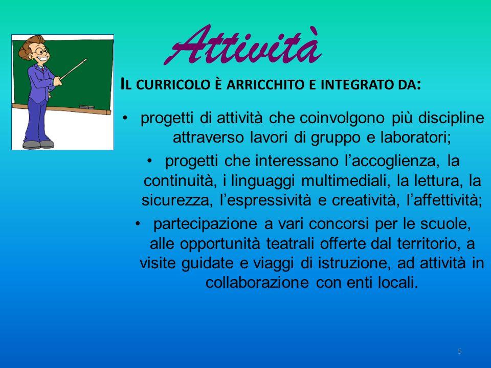 Attività Il curricolo è arricchito e integrato da: