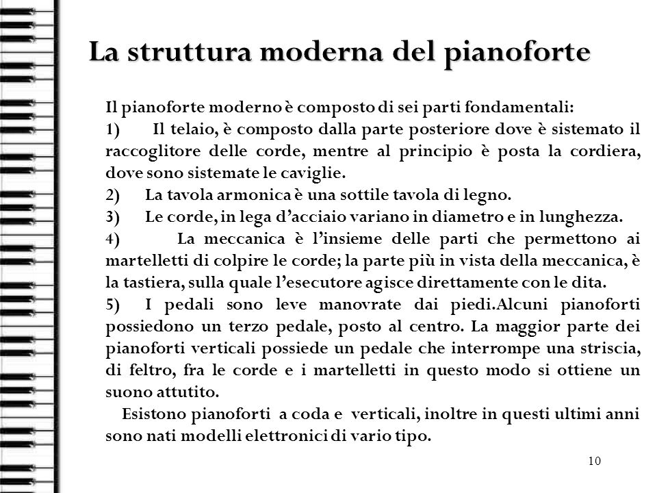 La struttura moderna del pianoforte
