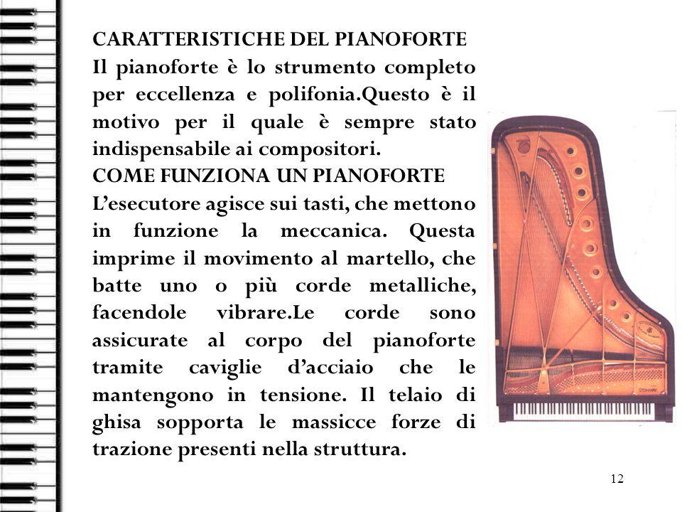 CARATTERISTICHE DEL PIANOFORTE