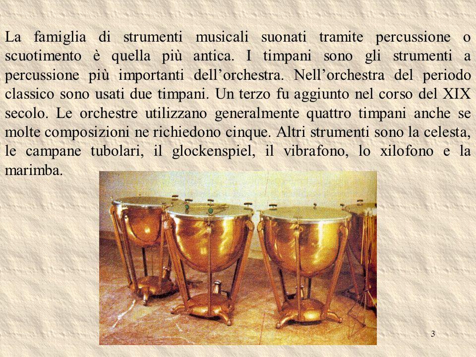 La famiglia di strumenti musicali suonati tramite percussione o scuotimento è quella più antica.