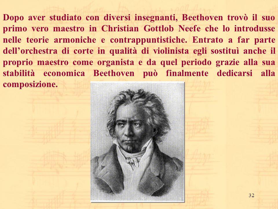 Dopo aver studiato con diversi insegnanti, Beethoven trovò il suo primo vero maestro in Christian Gottlob Neefe che lo introdusse nelle teorie armoniche e contrappuntistiche.
