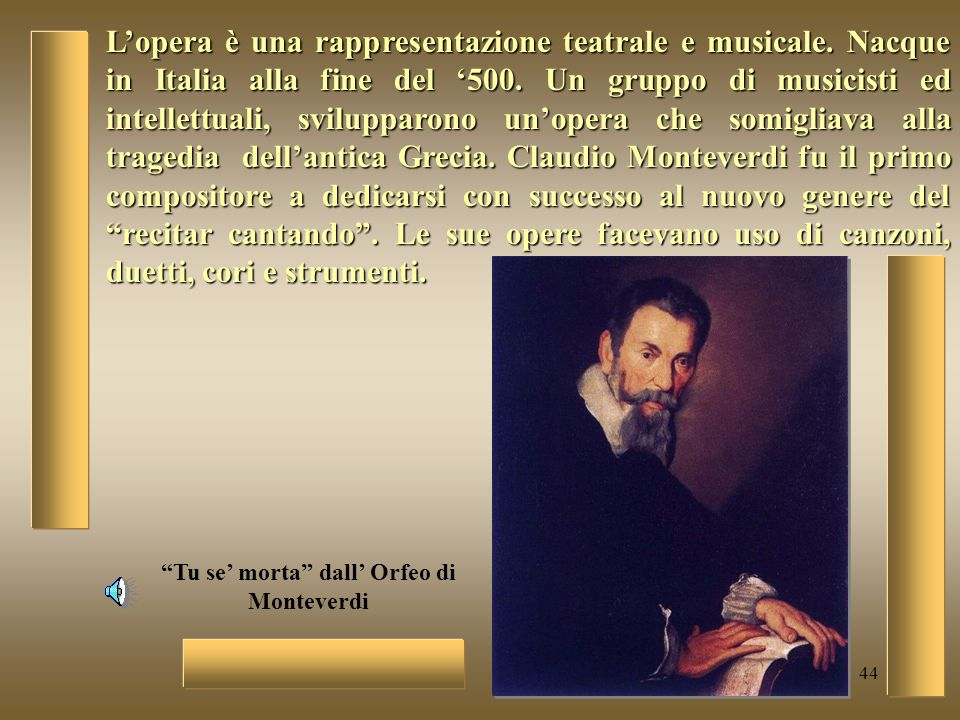 Tu se' morta dall' Orfeo di Monteverdi
