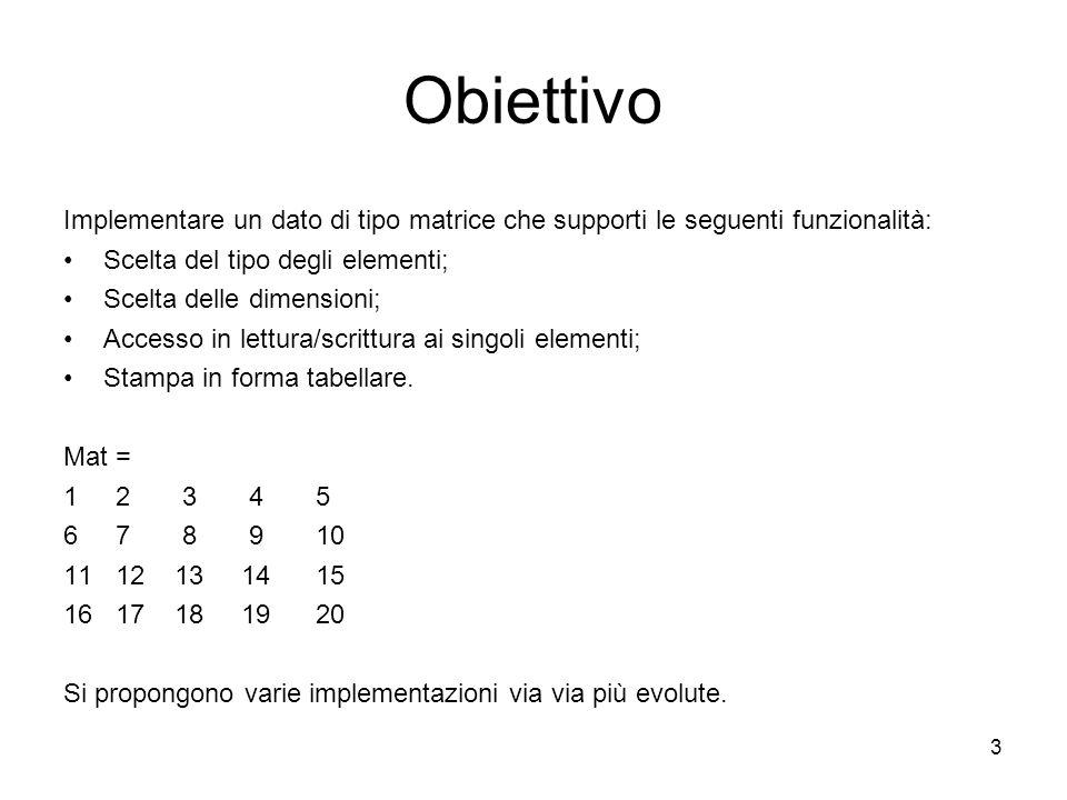 Obiettivo Implementare un dato di tipo matrice che supporti le seguenti funzionalità: Scelta del tipo degli elementi;