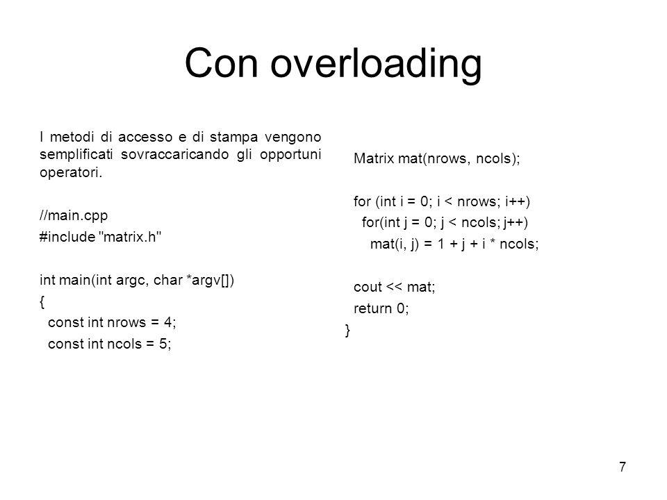 Con overloading I metodi di accesso e di stampa vengono semplificati sovraccaricando gli opportuni operatori.