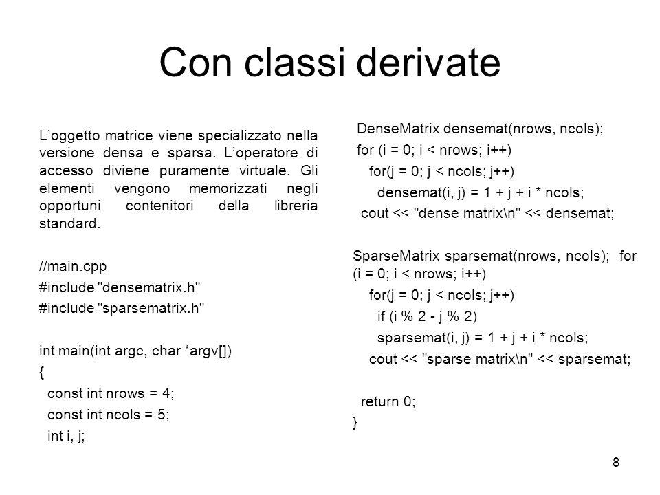 Con classi derivate DenseMatrix densemat(nrows, ncols);