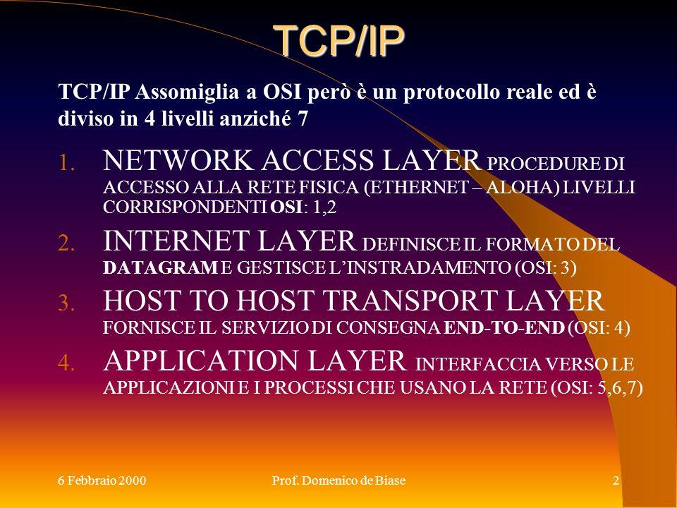 TCP/IP TCP/IP Assomiglia a OSI però è un protocollo reale ed è diviso in 4 livelli anziché 7.