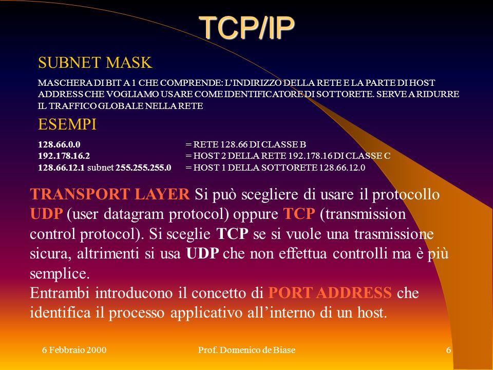 TCP/IP SUBNET MASK ESEMPI