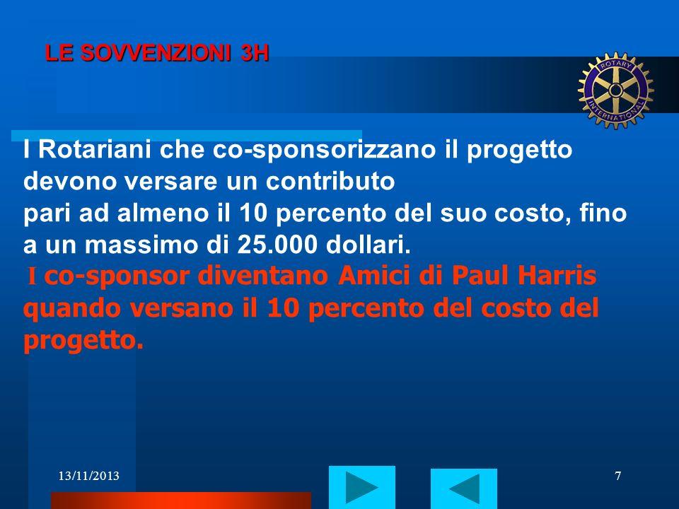 LE SOVVENZIONI 3H I Rotariani che co-sponsorizzano il progetto devono versare un contributo.