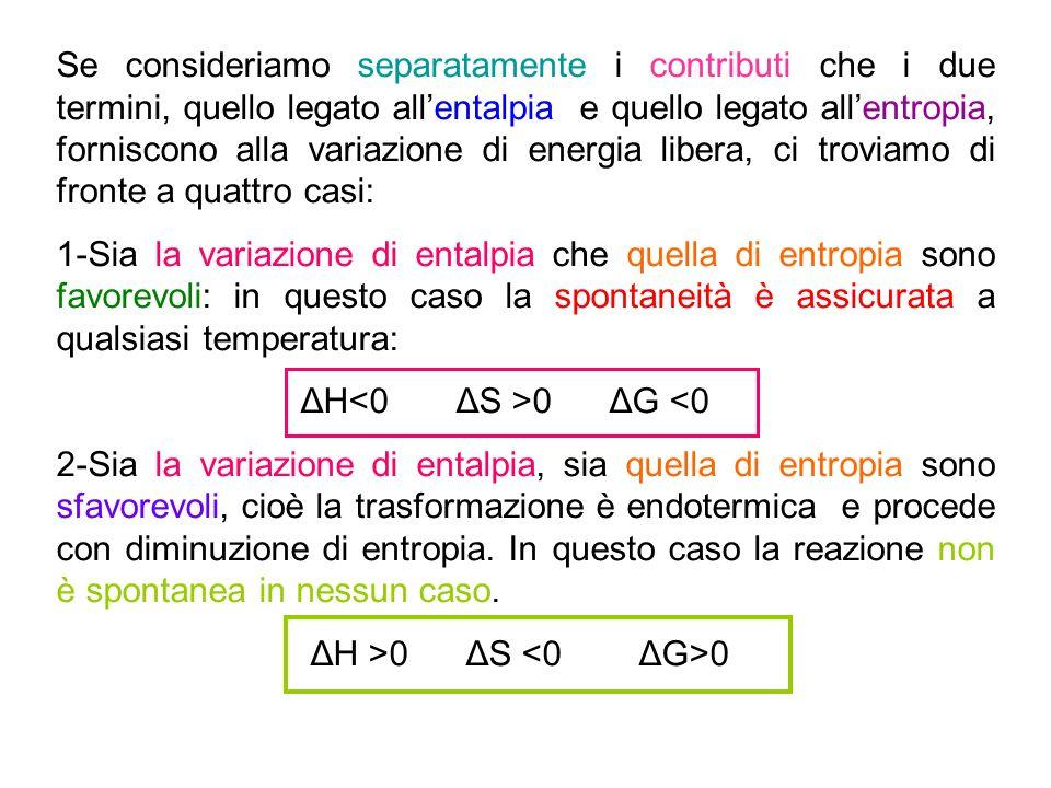 Se consideriamo separatamente i contributi che i due termini, quello legato all'entalpia e quello legato all'entropia, forniscono alla variazione di energia libera, ci troviamo di fronte a quattro casi: