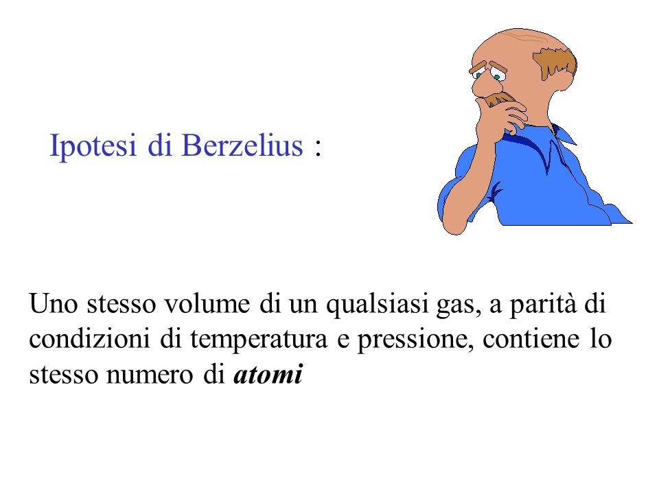 Ipotesi di Berzelius : Uno stesso volume di un qualsiasi gas, a parità di condizioni di temperatura e pressione, contiene lo stesso numero di atomi.