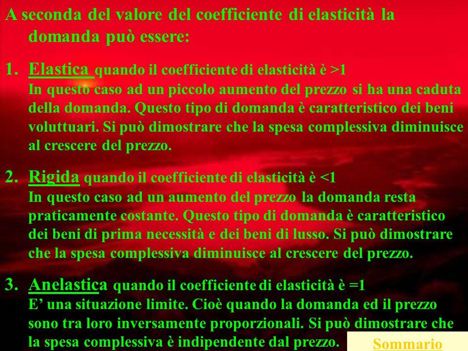 A seconda del valore del coefficiente di elasticità la domanda può essere: