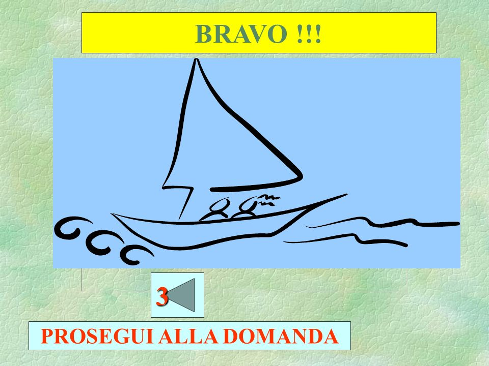 BRAVO !!! 3 PROSEGUI ALLA DOMANDA