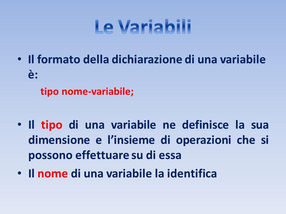 Le Variabili Il formato della dichiarazione di una variabile è: