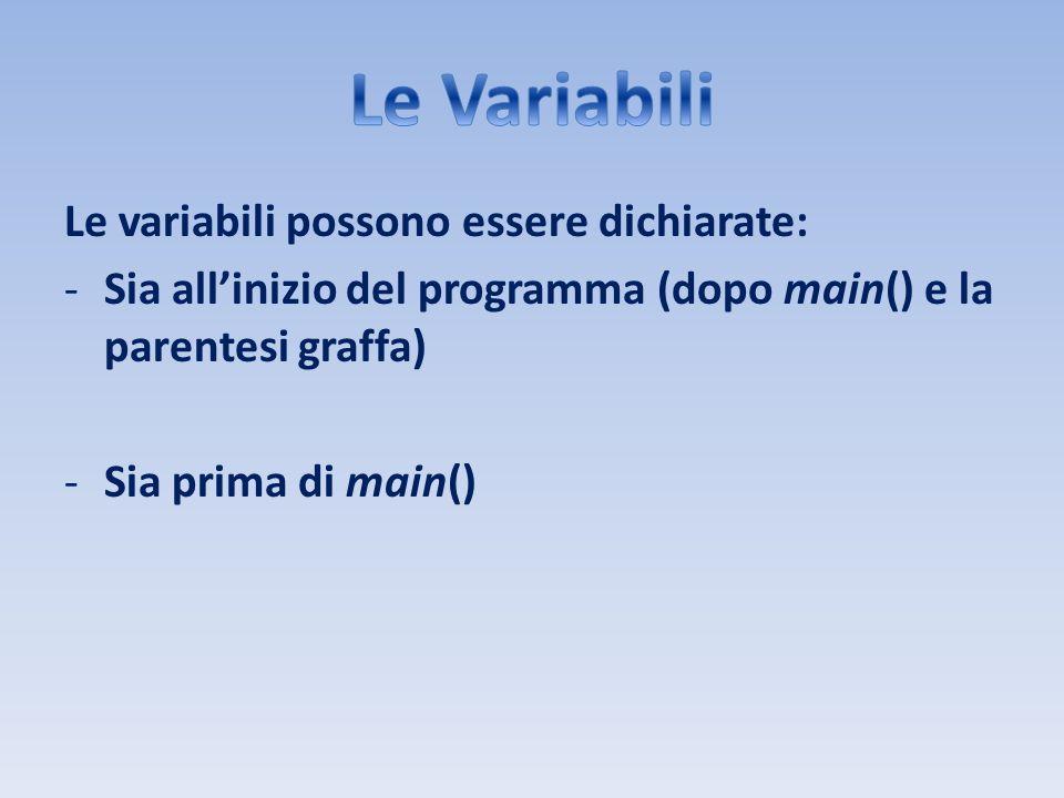 Le Variabili Le variabili possono essere dichiarate: